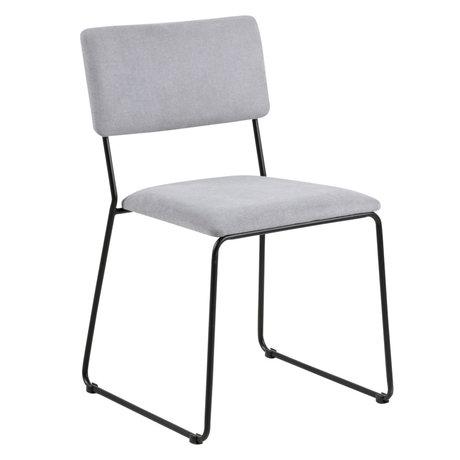 wonenmetlef Chaise de salle à manger Jill gris clair 90 noir Malmo textile textile 50x53.5x80cm