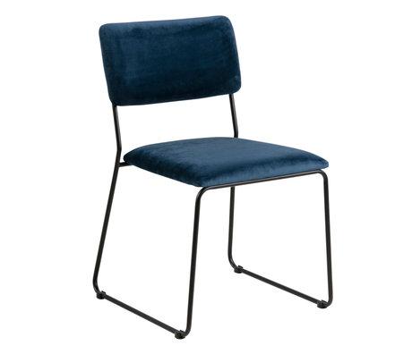 wonenmetlef Chaise de salle à manger Jill bleu marine 66 noir VIC textile en métal 50x53.5x80cm