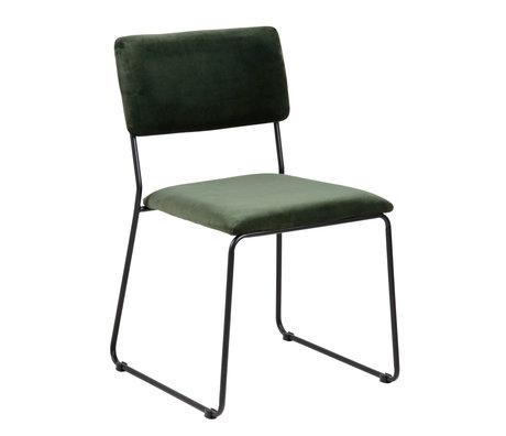 wonenmetlef Chaise de salle à manger Jill vert forêt 68AC noir VIC textile métal 50x53.5x80cm