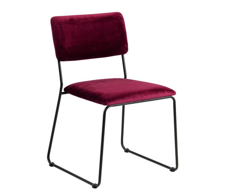 wonenmetlef Dining room chair Jill bordeaux red 55 black VIC textile metal 50x53.5x80cm