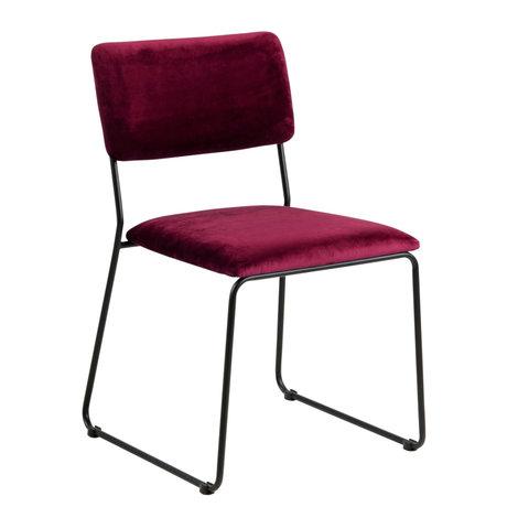 wonenmetlef Chaise de salle à manger Jill bordeaux rouge 55 noir VIC textile en métal 50x53.5x80cm