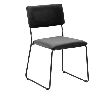 wonenmetlef Dining room chair Jill dark gray 28 black VIC textile metal 50x53.5x80cm