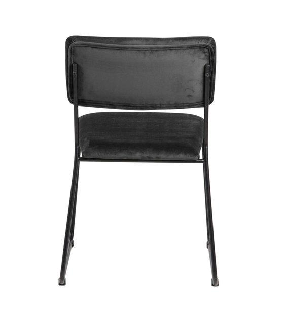 Eetkamerstoel Jill donker grijs 28 zwart VIC textiel metaal