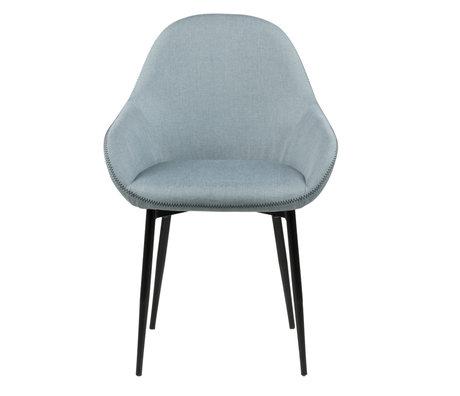 wonenmetlef Chaise de salle à manger Bob vert poussiéreux 72 noir Sawana textile en métal 60x57.5x85cm