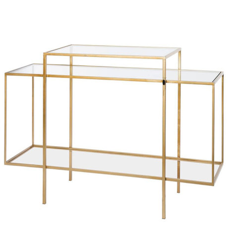 Riverdale Amaro gold metal glass sideboard 37x120x88.5 cm