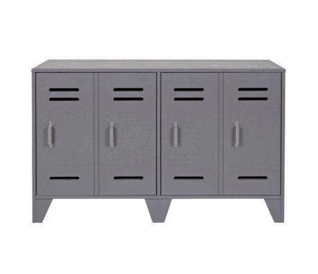 LEF collections placard Cabinet casier gris bois 65x103x40cm Stijn