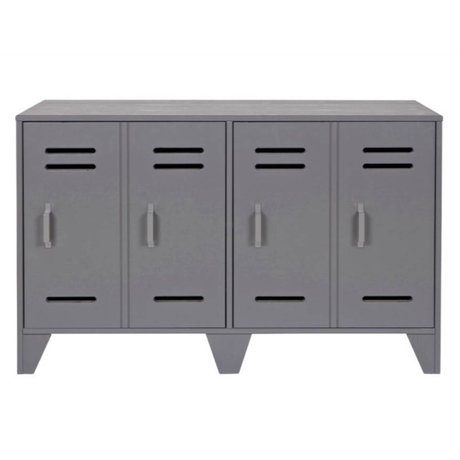 LEF collections Cabinet cupboard locker Stijn gray wood 65x103x40cm