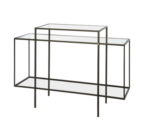 Riverdale Amaro sideboard black metal glass 37x120x88,5cm