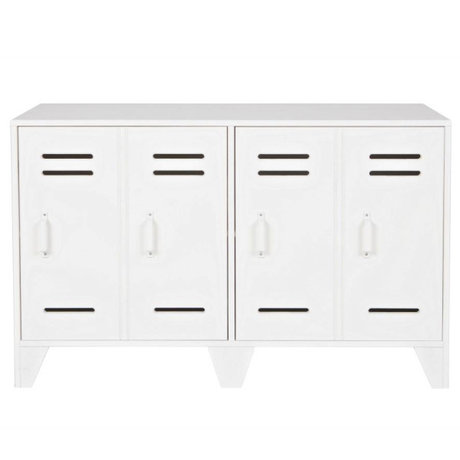 LEF collections Cabinet kast locker Stijn wit hout 103x40x65cm