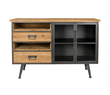 LEF collections Sidetable Orlando brown gray wood metal 113x40x75cm