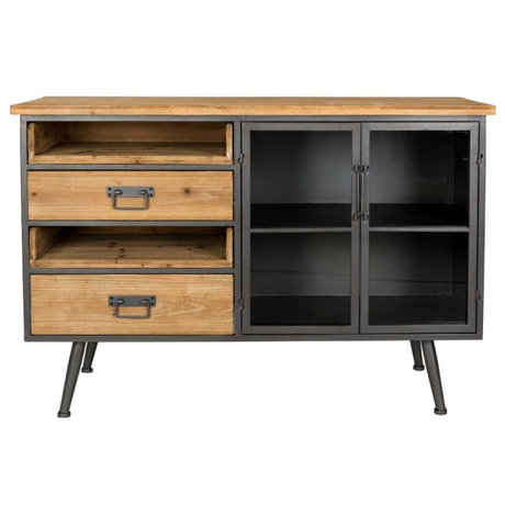 LEF collections Sidetable Orlando bruin grijs hout metaal 113x40x75cm