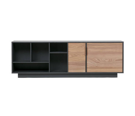 WOOOD Dressoir James zwart noten hout 187x40x62cm