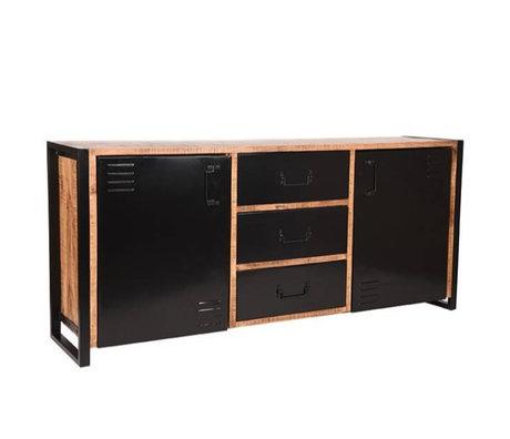 Label51 Sideboard Brussels brown black mango wood metal 190x45x85cm