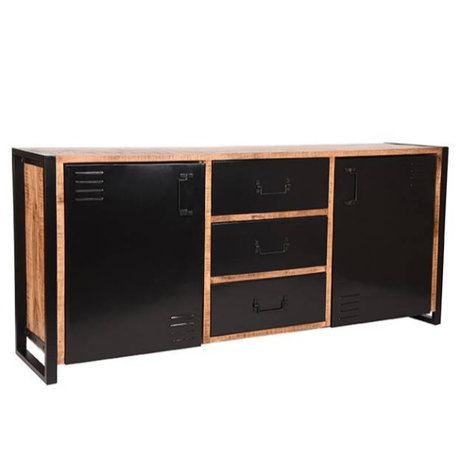 LEF collections Sideboard Brussels brown black mango wood metal 190x45x85cm