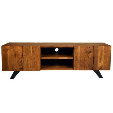 LEF collections TV-Schrank Temba braunes Holz Metall 160x45x50cm