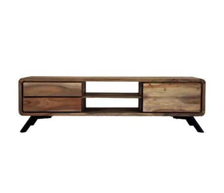 LEF collections TV meubel Havana bruin hout metaal 160x45x46cm