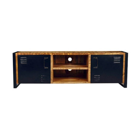 LEF collections TV cabinet brussels brown black wood metal 160x45x50cm