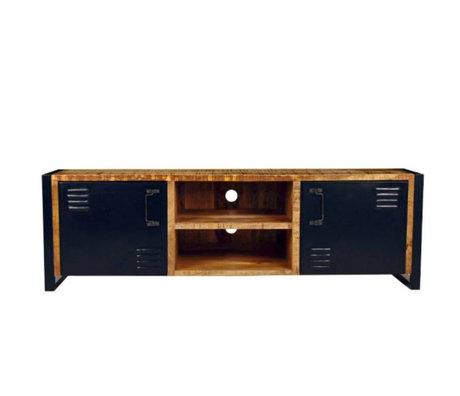 LEF collections TV meubel brussels bruin zwart hout metaal 160x45x50cm