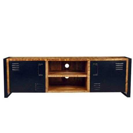Label51 Meuble tv bruxelles brun noir bois métal 160x45x50cm