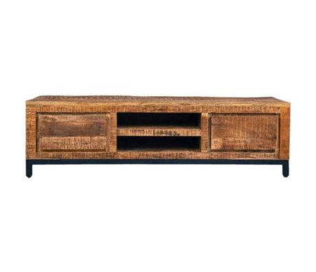 Label51 Meuble TV Gand brun métal bois noir 160x45x45cm