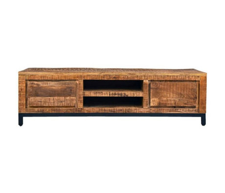 LEF collections TV cabinet Ghent brown black wood metal 160x45x45cm