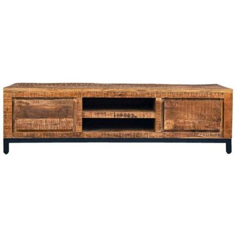 Label51 TV cabinet Ghent brown black wood metal 160x45x45cm