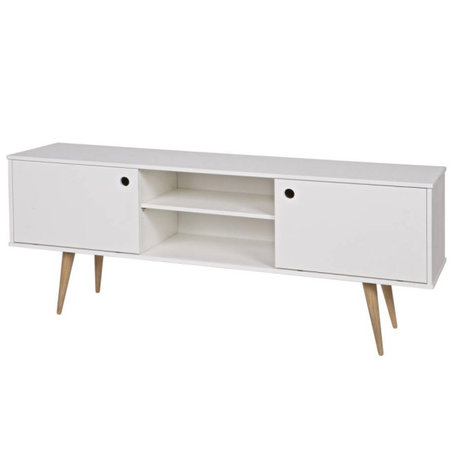 LEF collections Meuble tv retro pin blanc 150x38x60cm