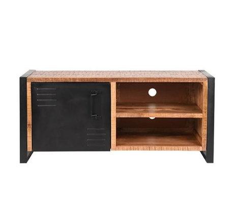 Label51 TV furniture Brussels brown black mango wood metal 115x45x50cm
