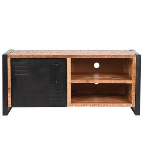 LEF collections TV meubel Brussels bruin zwart mangohout metaal 115x45x50cm