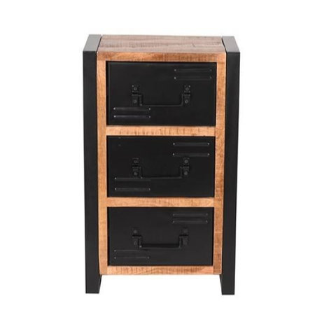 LEF collections Ladekast Brussels bruin zwart mangohout metaal 45x30x75cm