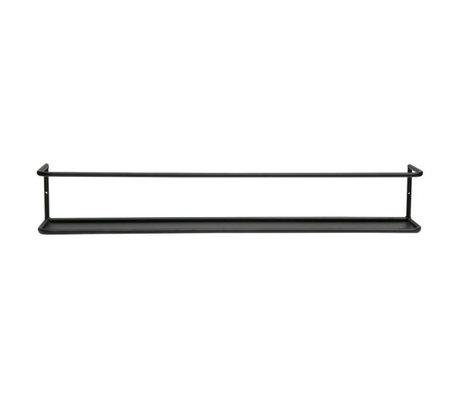 LEF collections Wandplank Myrthe XL zwart metaal 13x80x10cm