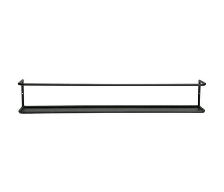 LEF collections Wandplank Myrthe XL zwart metaal 80x10x13cm