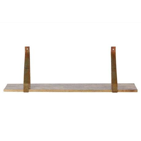 BePureHome Wandplank Weldone roest oranje metaal hout 25x80x25cm