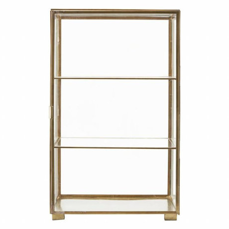 Housedoctor Cabinet box gold iron glass 35x35x56.6cm