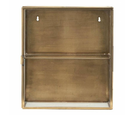 Housedoctor Wall cabinet brass yellow copper metal glass, 35x15x40cm