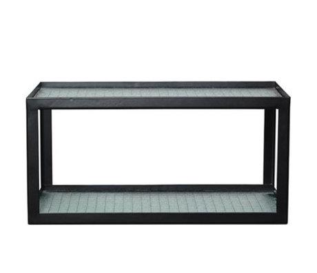Ferm Living Wandplank Haze zwart metaal frame met bedraad glas 17x35x19cm