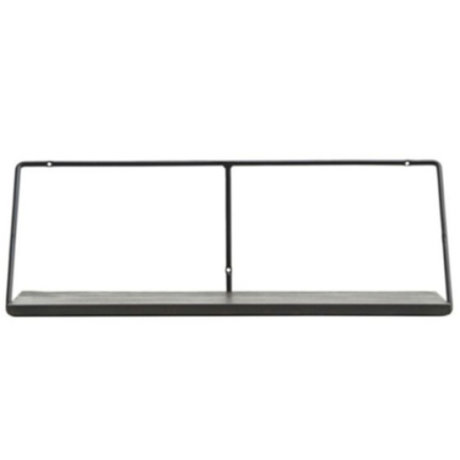 Housedoctor Wandregal Wired schwarz Stahl Mangoholz schwarz 70x24x24.4cm