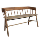 HK-living Brown sofa teak wood 45x123x72cm
