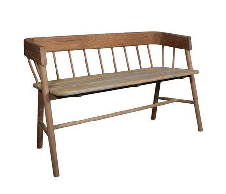 HK-living Brown canapé en teck 45x123x72cm en bois