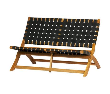 WOOOD Bankje Lois (tuin) naturel bruin zwart geweven hout 110x78x73cm