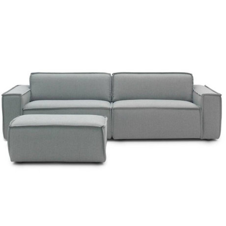 FÉST Bank Edge-3-Sitz grau Sydney91 + hocker 254x103cm