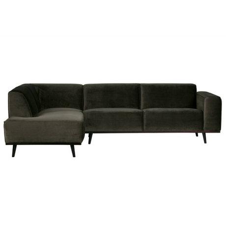 BePureHome Bank Statement corner sofa left warm green velvet 77x274x210cm