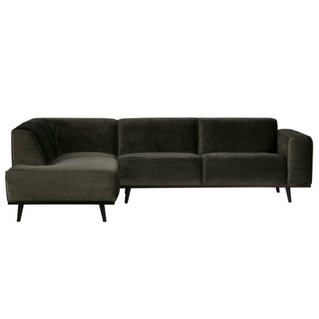 BePureHome Bank Statement hoekbank links warm groen velvet 77x274x210cm
