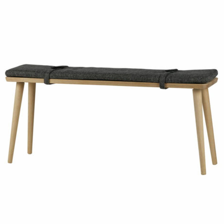 LEF collections Bench Beau with cushion natural wood 110x30x50cm