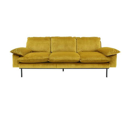 HK-living Banque Trendy Ocre 3 places velours jaune 225x83x95cm