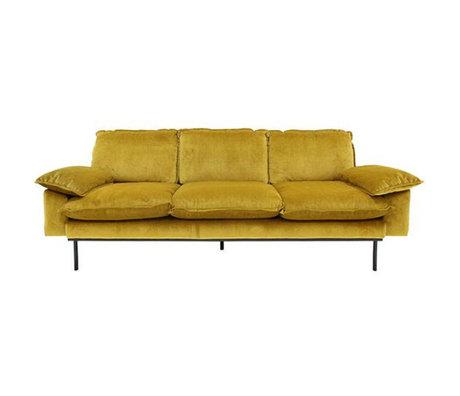 HKliving Bank Trendy Ocher 3-zits yellow velvet 225x83x95cm