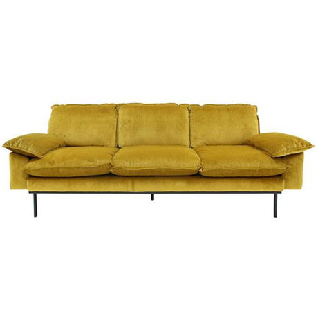 HK-living Bank Trendy Ocher 3-zits yellow velvet 225x83x95cm