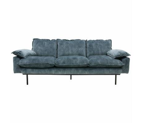 HK-living Bank retro sofa 3-zits petrol blauw fluweel 225x83x95cm