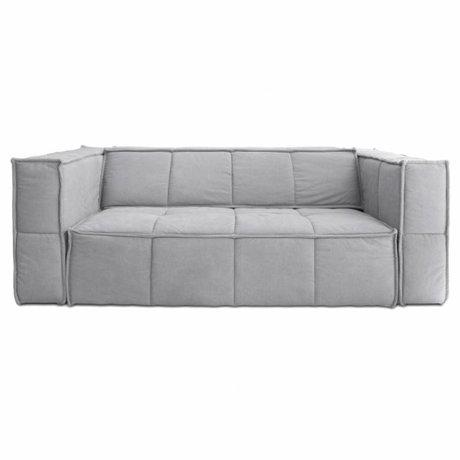 HK-living Canapé Cube 3 places toile gris clair 210x102x75cm