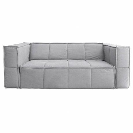 HK-living Sofa Cube 3-Sitz hellgrau Leinwand 210x102x75cm